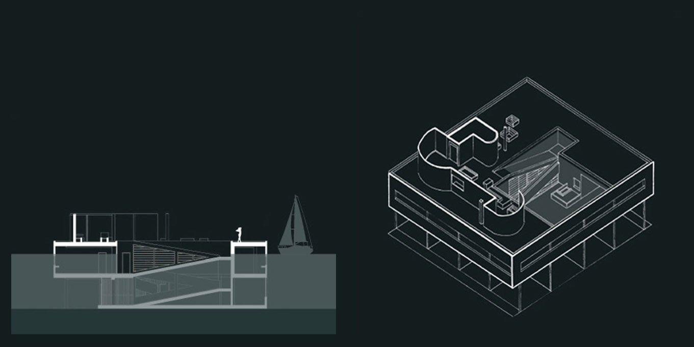 05 RENDERING - BE Comunicazioni - savoye le corbusier section axon mobile R02