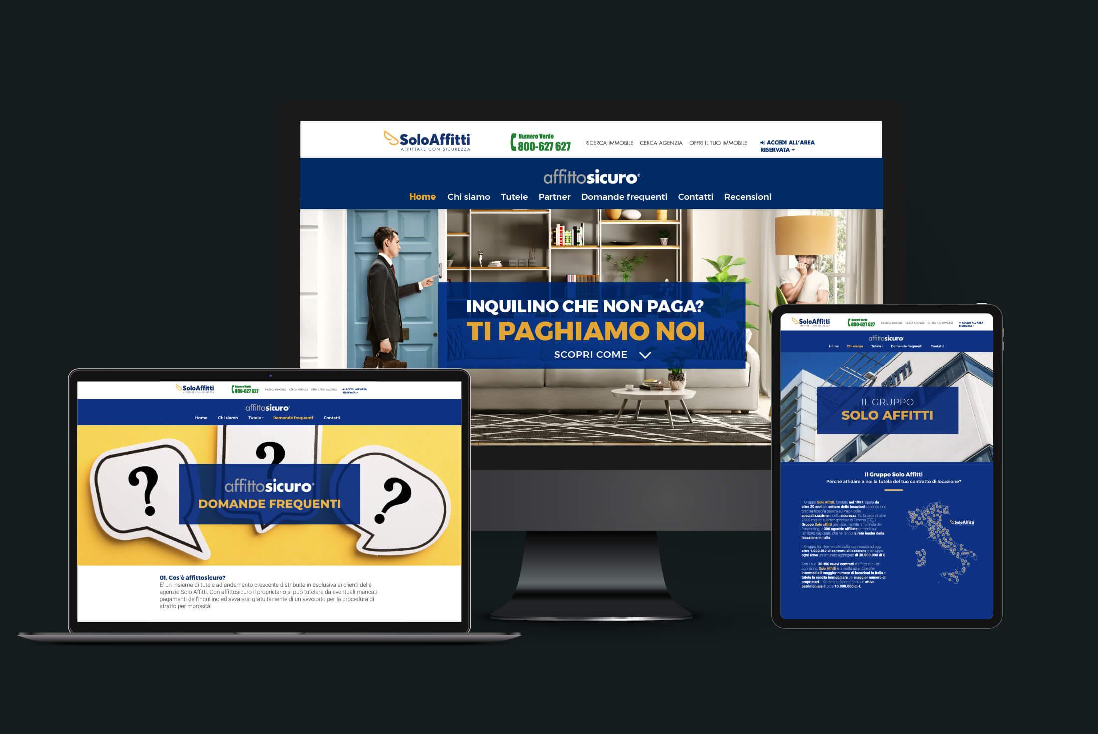 Sito web - Portfolio - Be Comunicazioni - Pubblicità e Marketing - Affitto Sicuro - SoloAffitti - Cover
